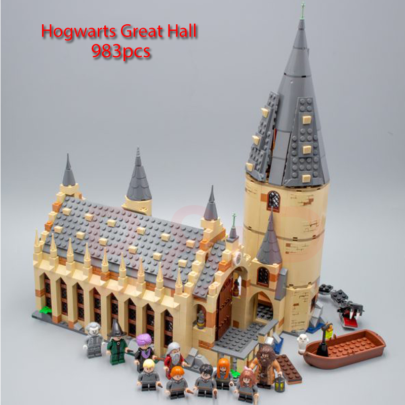 2018 New 983pcs Harry set potter Magic School Great Hall Model Building Block Toy For Children Christmas gift compatible 75954 new pattern hogg watts magic school school badge quartz pocket watch senior high school student harry potter gift table ds281