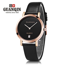 GUANQIN GS19047 Female Leather Strap Quartz Watch Date Display Ultra-thin Dial Wristwatch for Women