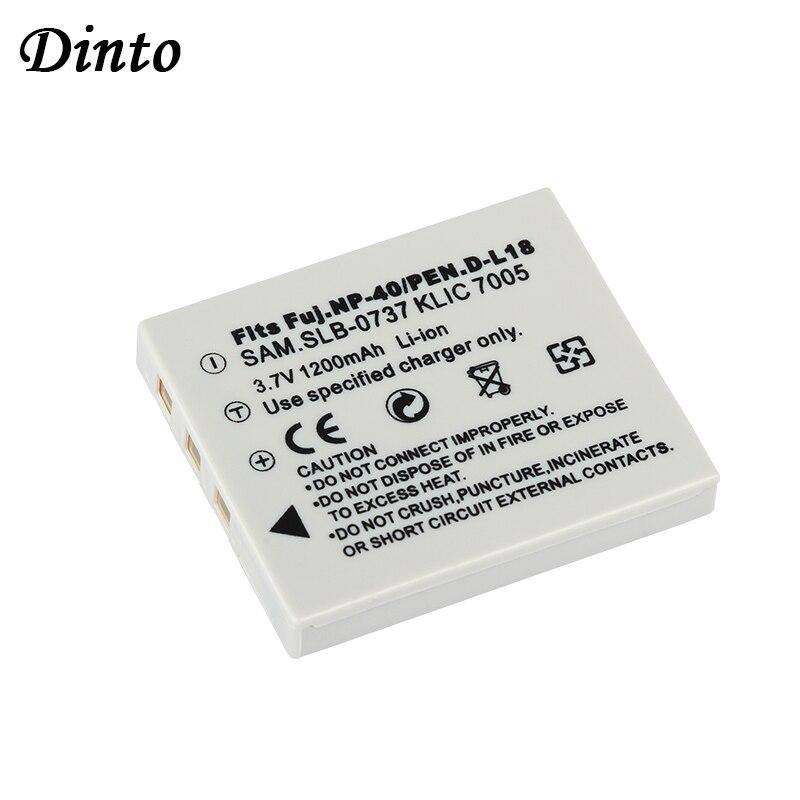 Dinto 1200 мА/ч, Камера аккумулятор для Fujifilm NP-40N NP-40 NP 40 NP40 для BENQ DLI-102 PENTAX D-LI8 D-Li85 SLB-0737 KODAK KLIC-7005