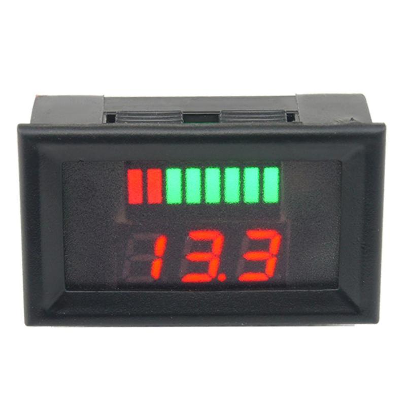 42x28x22mm 12-60V ACID Red Lead Battery Capacity Indicator Charge Level Lead-acid LED Tester Voltmeter Plastic