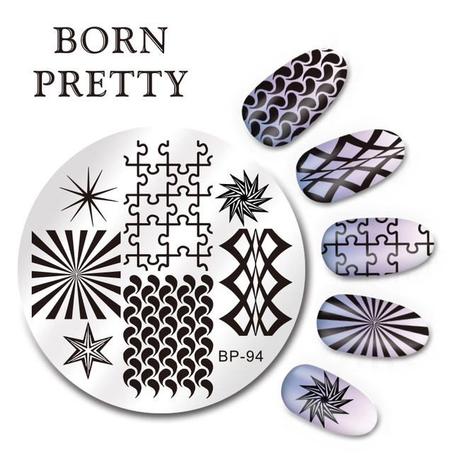 BORN PRETTY 55cm Round Nail Art Stamp Template Puzzle Geometry - stamp template