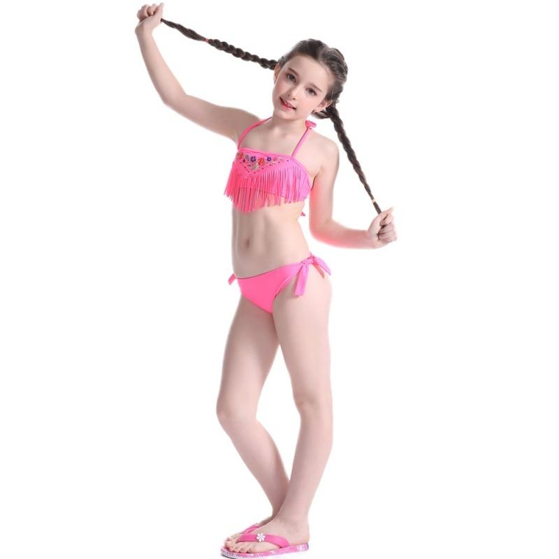 bff8d33bf7 5~14 Y Girls Summer Cute Beach Bikini Swimwear Split Embroidery Bikini  Swimsuit for Teen Girl-in Bikinis Set from Sports   Entertainment on  Aliexpress.com ...