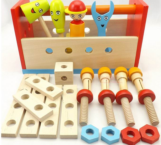 Children assemble wooden Screw blocks/ Kids Child  cartoon DIY wood Toolbox  for early learning educational toys , Free shipping free ship 1 set of 100pc children kids natural wooden build blocks montessori sensorial early development educational material