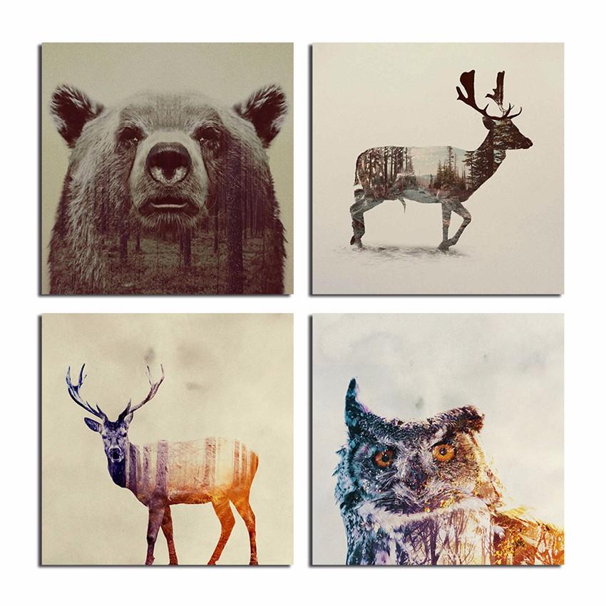 Wald Tiere Weihnachten Leinwand Bilder Mit Fertig Gerahmt Hängen ...