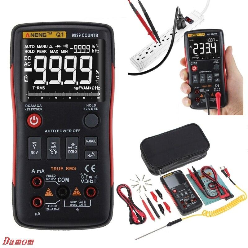 Profesional Q1 True RMS Digital Multimeter analogico multimetro esr meter mastech Auto Button 9999 Count Analog Bar Graph Tester
