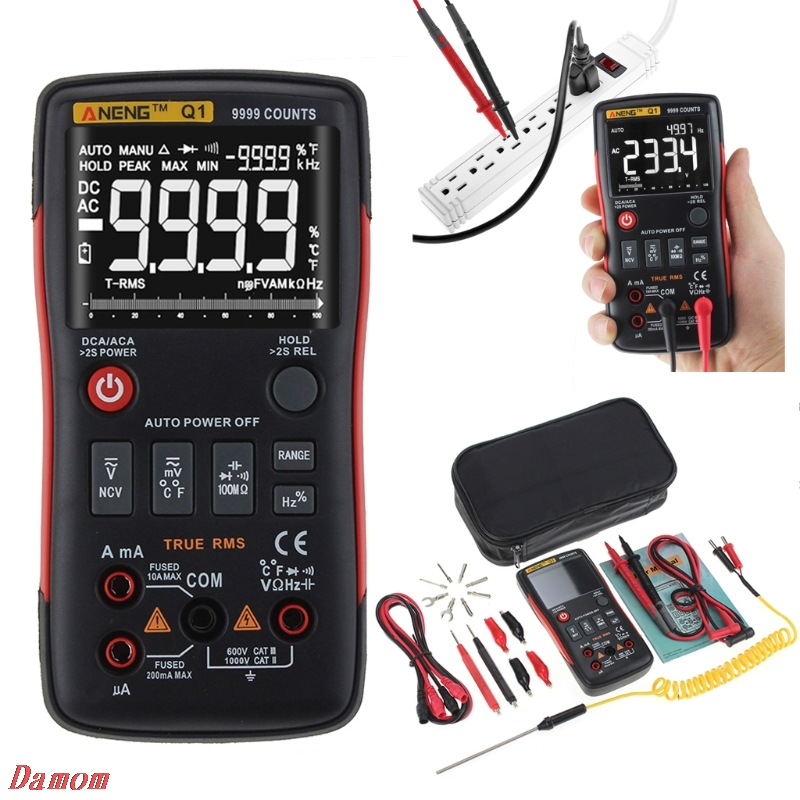Q1 multímetro Digital de verdadero botón Auto 9999 cuenta analógico Bar gráfico de