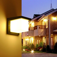 Modern Led Exterior Wall Light Fixture Aluminum Block Square Wall Scone Black Grey Garden Light 220v