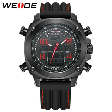 WEIDE Top Luxury Brand Sport Watch Waterproof Dual Time Zone Multi-function Black Red Men's Outdoor Quartz Military Wristwatch