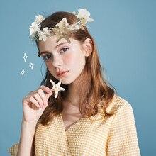 Свадебные аксессуары для волос для девочек, диадема для невесты, Женский ободок, Цветочная корона, свадебная Цветочная повязка на голову, венок