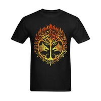Custom Shirts Crew Neck Short Sleeve Printed Mens Men Bright Flaming Destiny Iron Banner Design Customized