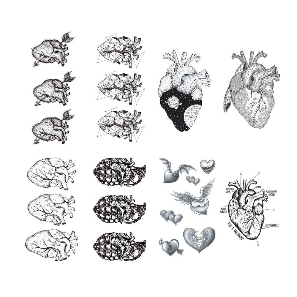 Heart Temporary Tattoo Sticker Adult Men Women Make Up Waterproof Fake 10.5X6cm
