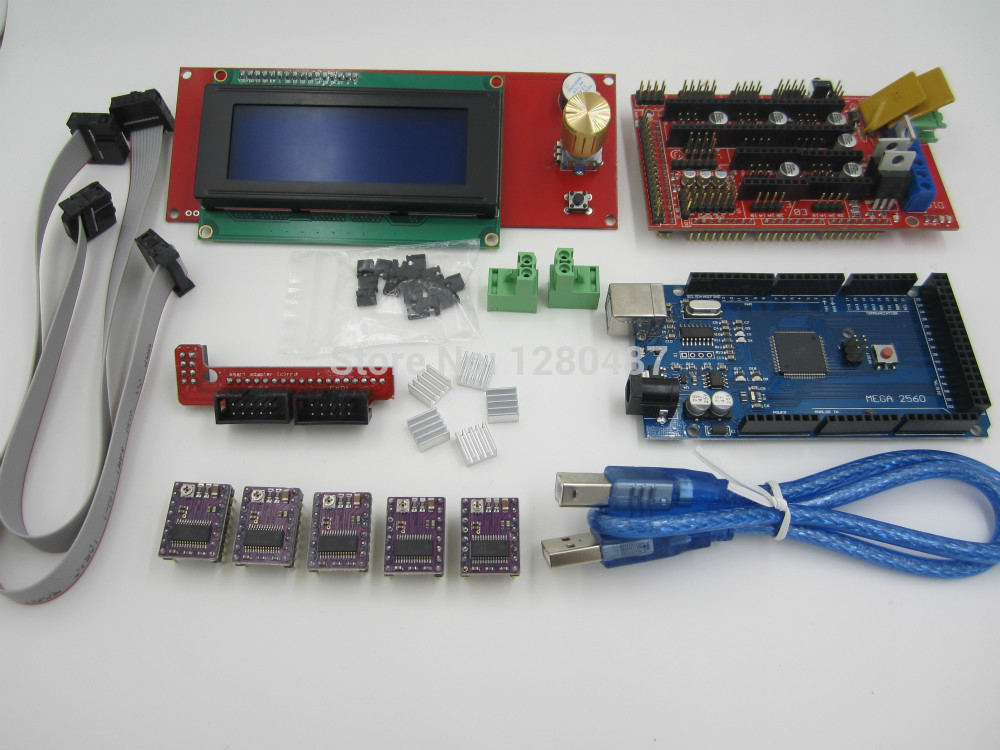все цены на  3D Printer kit 1pcs Mega 2560 R3 + 1pcs RAMPS 1.4 Controller+ 5pcs DRV8825 Stepper Motor Drive + 1pcs LCD 2004 controller  онлайн