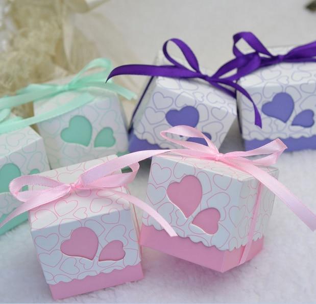 Online Shop 100pcs Mint Green / Pink / Purple Wedding Favors Square ...