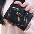 Короткие полые листьев женщины бумажник леди маленький кожаный кошелек марка ЗАСОВ и молния портмоне моды девушка держателей карт бумажник
