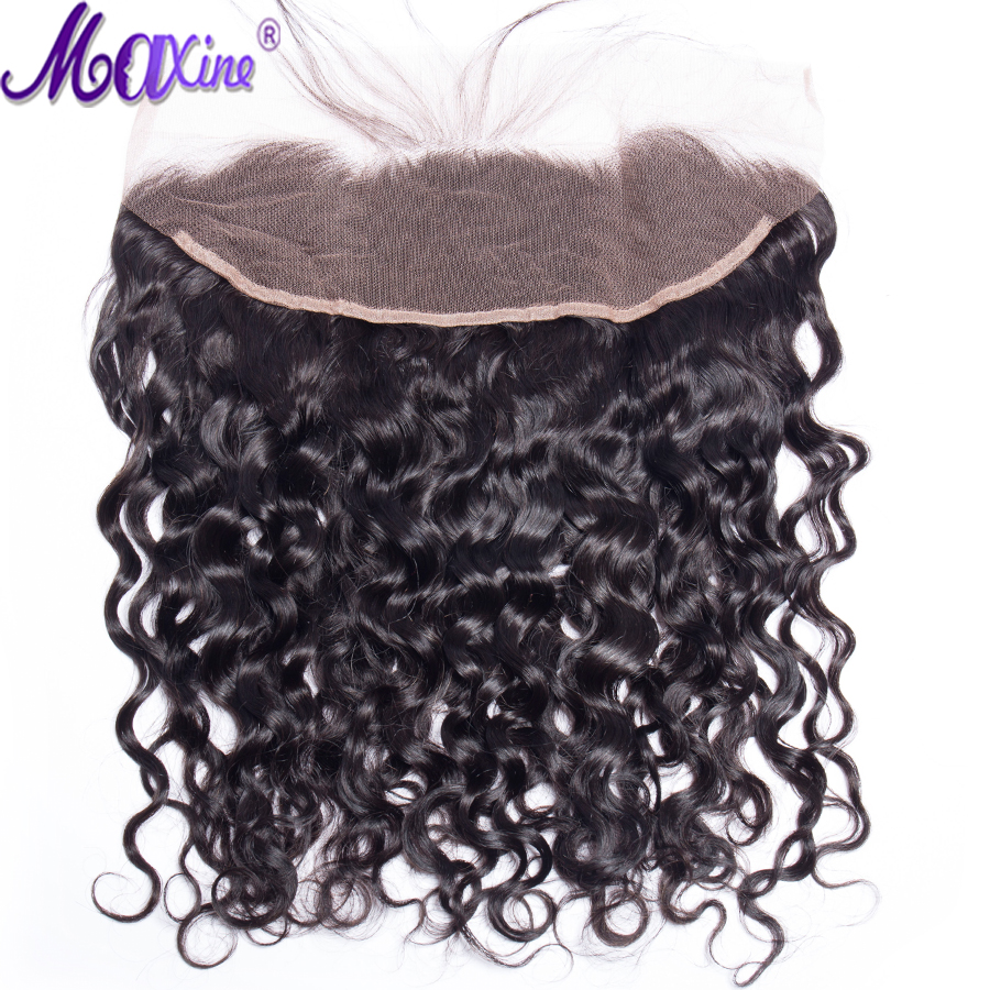 Maxine hair 13x4 Lace Frontal Brazilian Water Wave Ear to Ear Pre Plucked Frontal Closure With Baby Hair 100% Remy Human Hair