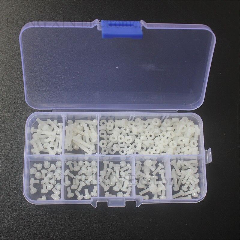 280PCS/Set Metric M2.5 Assortment Nylon Screws Bolt Nuts Fastener White Plastic Nylon Screw Nut Set 7 Sizes HOT цена