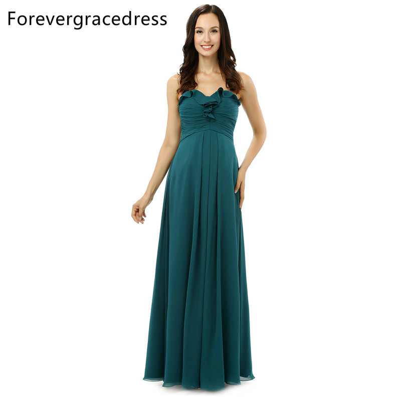 Forevergracedress Real Photos Elegant   Bridesmaid     Dress   Simple A Line Chiffon Long With Lace Up Wedding Party Gown Plus Size