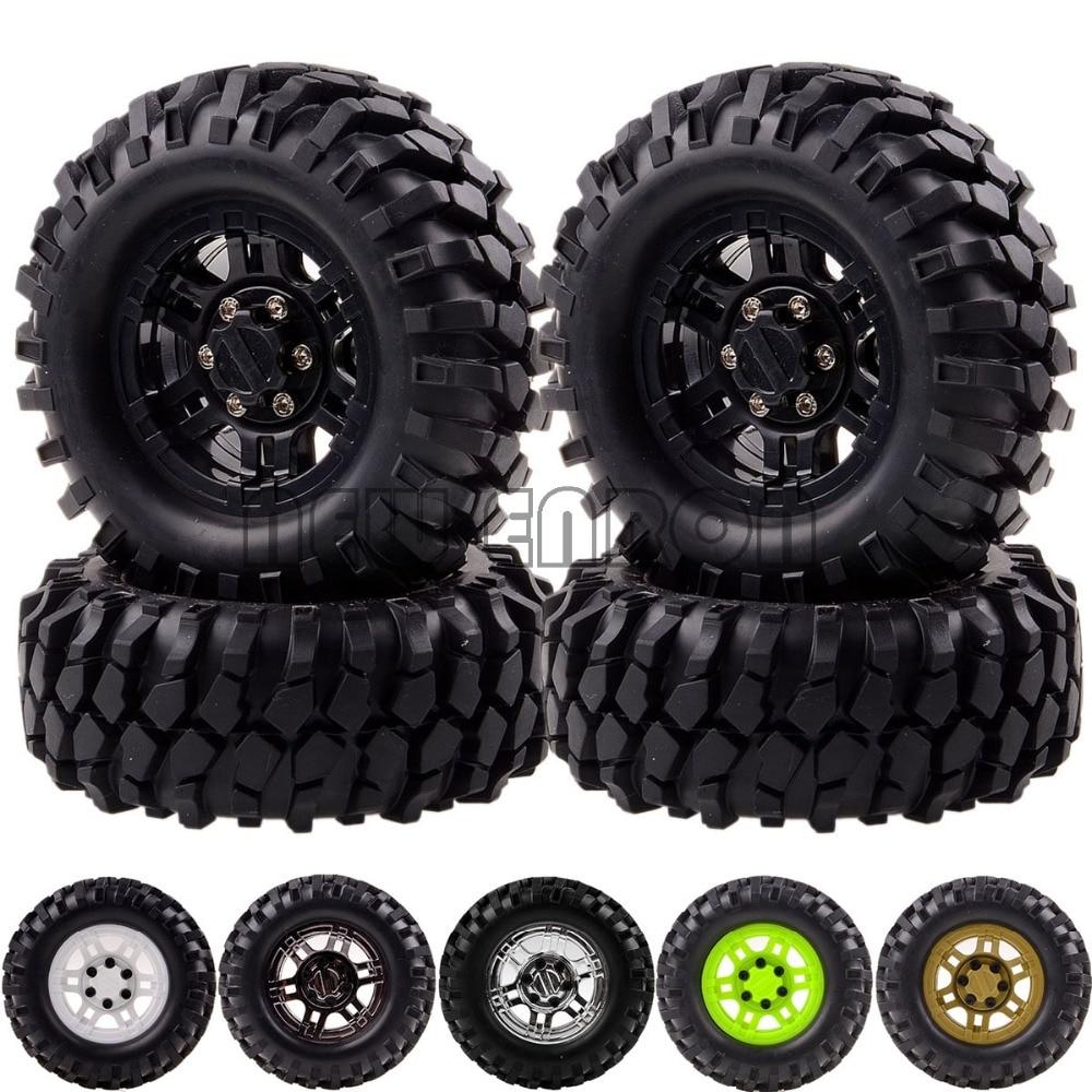 4P RC 1:10 Rock Crawler 1.9 Beadlock Wheels & 96MM Tires Gmade D90 SCX10 mxfans rc 1 10 2 2 crawler car inflatable tires black alloy beadlock pack of 4