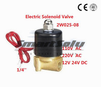 Free Shipping 5PCS 2W025 08 1 4 Joint Pipe Bore Water Pneumatic Air Solenoid Valve FKM