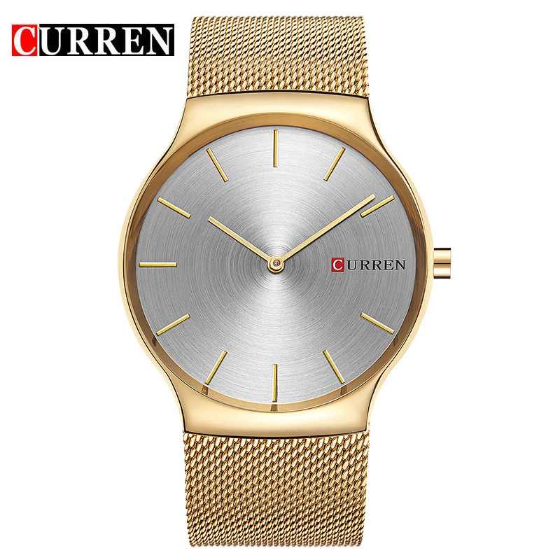 Fashion Men Watch Curren Golden Quartz Watches Stainless Steel Mesh Band Relogio Masculino Simple Wristwatch 8256 Dropshipping skone fashion simple watches for women lady quartz wristwatch stainless steel band watch for woman relogio femininos
