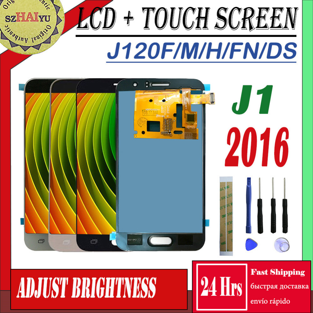 SM-J120FN/F/M/H/DS Para Samsung Galaxy J1 2016 J120 Display LCD + Touch Screen j120H J120FN J120F J120M Ajustar O Brilho Da Tela