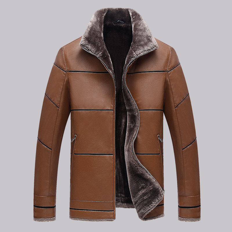 Men Leather Jacket With Fur Collar Man On The New Winter Thickening Leather Jacket Men Mens Fur Coat Mens Winter Leather Jacket