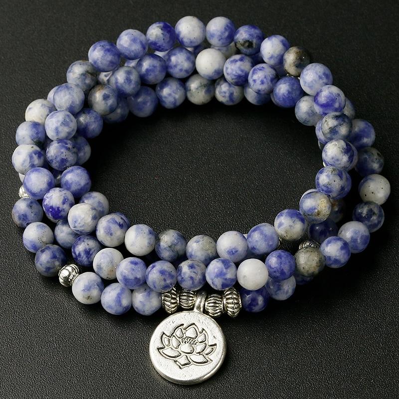 STONE OF POWER Natural Blue Point Stone bracelets OM Lotus Charm Jewelry 6mm Sodalite Bracelet Men Meditation Yoga Women Gift