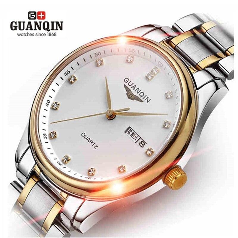 ФОТО Original Sapphire GUANQIN Men Watch 30m Waterproof Shockproof Watch Stainless Steel Strap Watch Luxury Brand Quartz Watch Clock