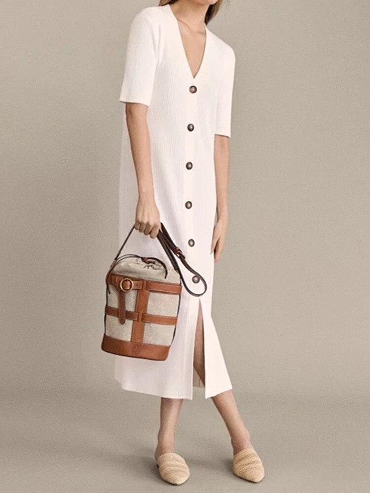 Kadın Giyim'ten Elbiseler'de Sonbahar Yeni kadın Midi Elbise Beyaz V Yaka uzun elbiseler kaburga rahat elbise rahat elbise düğmeleri ile'da  Grup 1