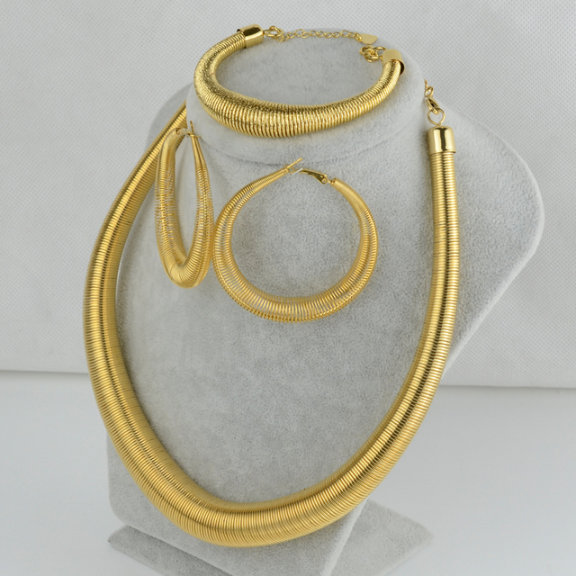 African set Jewelry Screw Necklace Earrings Bracelet  Gold Plated Trendy Luxury Exaggerated Colla Ethiopian/Indian/gerian