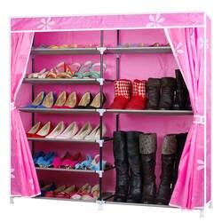 Современная мода простой Ткань Оксфорд двойными рядами Обувь полка DIY Обувь Организатор Обувь стойки Обувь шкаф для хранения Мебель для
