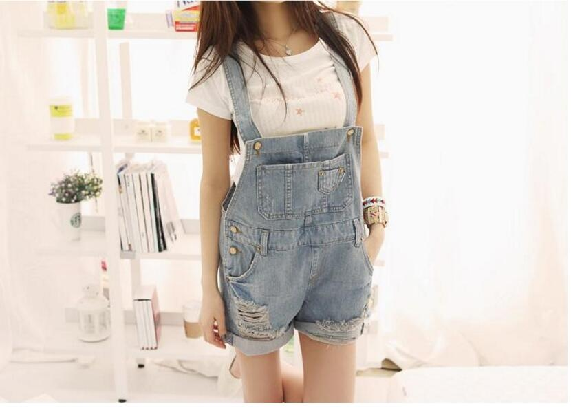 2017 New Lady Casual Washed Denim Jeans Suspenders Shorts Bib Pants Female Loose Jumpsuit And Rompers S-XL Free Shipping  цены онлайн