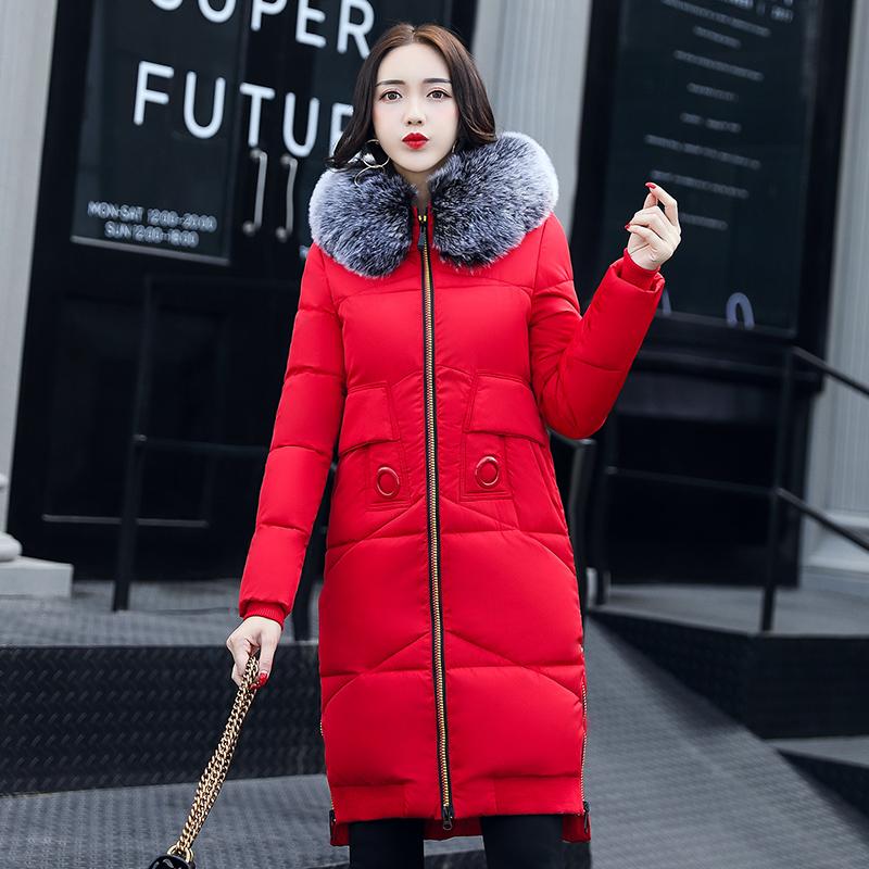 2017 Winter Jacket Women Fashion Fur Collar Slim Cotton Padded Hooded Thick Warm Outwear Parkas Female Coat Six Colors M-3XL women winter cotton padded jacket warm slim parkas long thick coat with fur ball hooded outercoat female overknee hoodies parkas