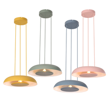 лучшая цена Nordic dining room pendant lights metal shade colorful kids room study foyer lighting decoration droplight free shipping