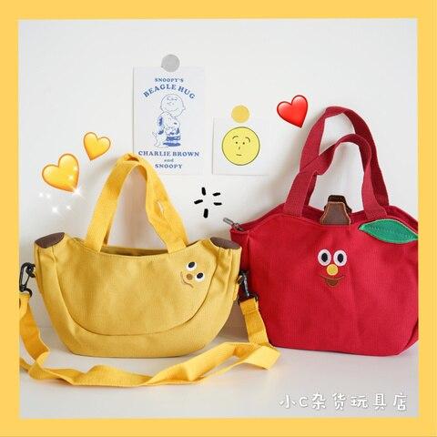 bonito dos desenhos animados bolsa de ombro bolsa de frutas banana maca bordado lona senhoras