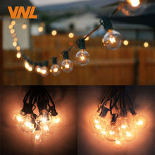 VNL G40 String Lights With 25 G40 Clear Globe Bulbs Listed For Indoor/Outdoor Vintage Backyard Wedding Decoration String Lights
