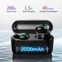 Drahtlose Bluetooth 5,0 Kopfhörer TWS Headsets Sport Musik Kopfhörer Stereo headset mit 3500 mAh Power Bank für Xiaomi iPho