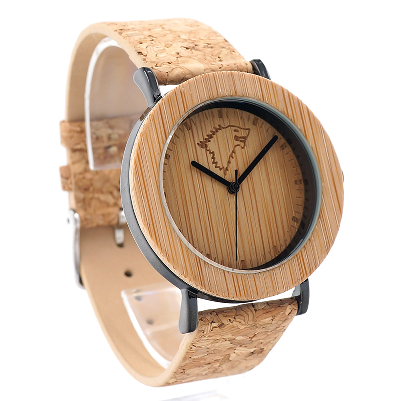 0c4a6f1a06e BOBO BIRD Mens Watche Wooden Wolf Head Dial Genuine Leather Strap  Wristwatch relogio masculino B-K16