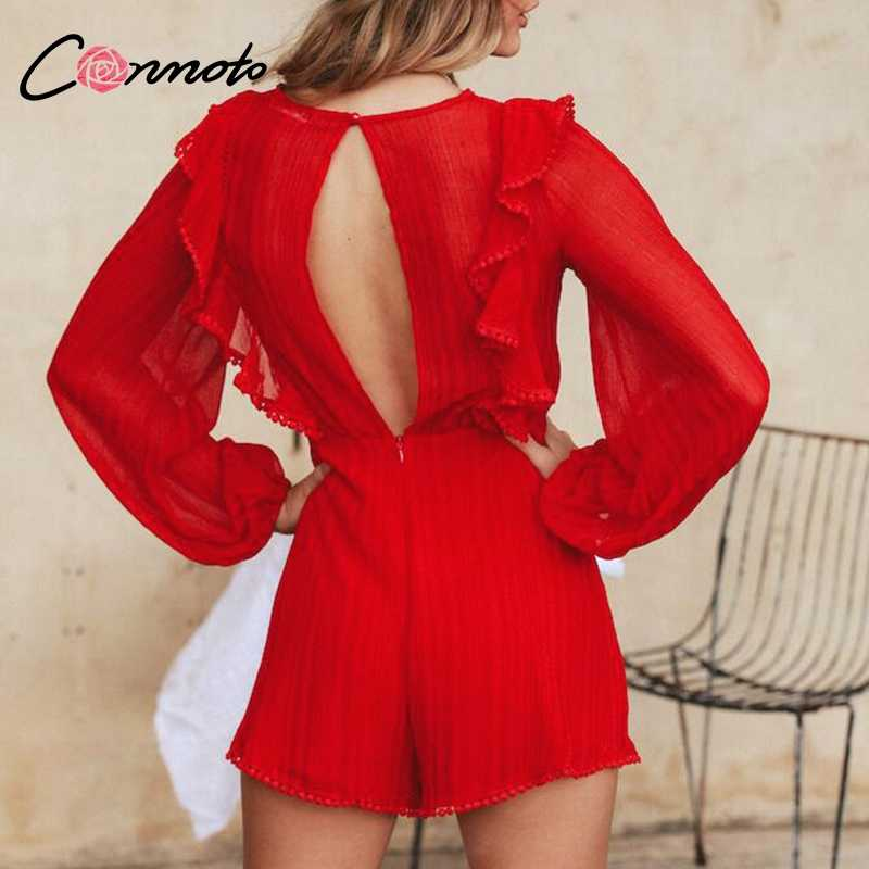 Conmoto сплошной выдалбливают с длинным рукавом женский комбинезон красные вечерние элегантный повседневный комбинезон с открытой спиной рюшами Короткие Комбинезоны
