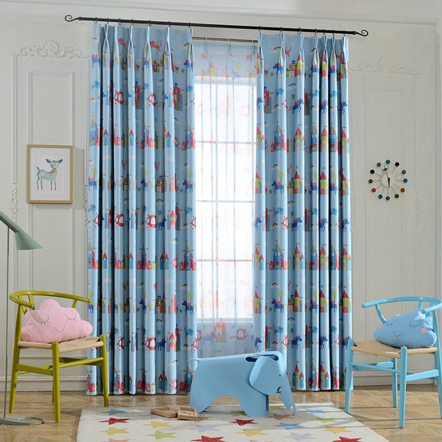 Magic Park Design Sheer Tulle Curtains Printed Living Simple D Room Curtain Children Bedroom Window