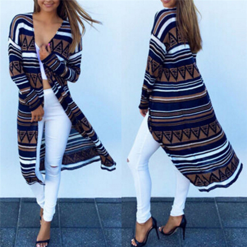 Fashion Cardigan Women Casual Long Print Crochet Knitted Blouse Long-sleeve Jacket Coat Sweaters Cardigans Tops