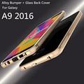 Caso luphie aluminum case para samsung galaxy a9 2016 a9100 tampa do telefone de proteção de vidro de luxo tampa traseira para samsung a9 2016 shell