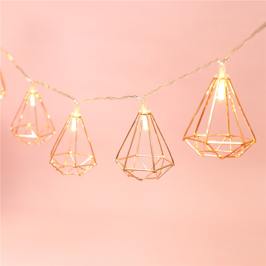 1.5m Rose Gold Diamond Shape LED String Lights Bedroom Christmas LED Fairy Lights for Wedding Party Home Decoration