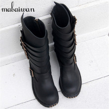 Black Straps Women Genuine Leather Mid-calf Boots Flat Long Botas Militares Buckles Side Zipper Square Toe Motorcycle Boot