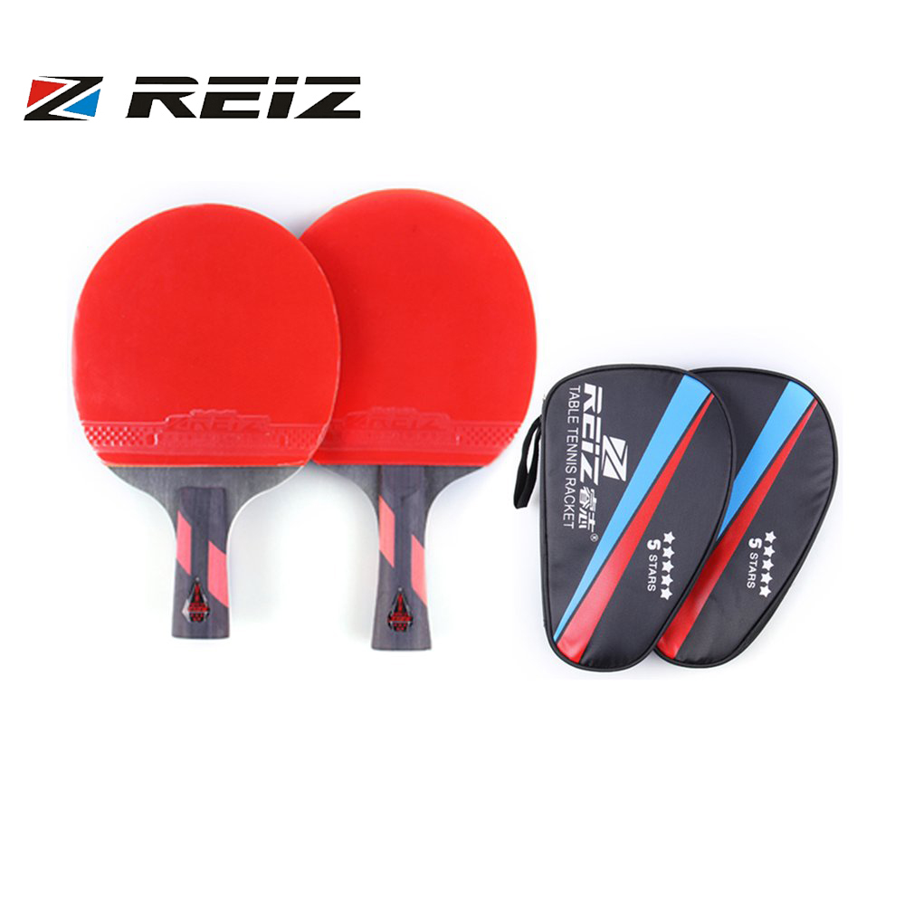 REIZ 5 Stars Table Tennis Racket Short Or Long Handle Shake-hand Ping Pong Paddle Match Training Racket With Case