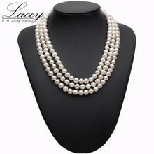 Collar de perlas reales joyería de plata, Perla de agua dulce tres soporte gargantilla collar bisutería collar nupcial para mujer Envío Directo