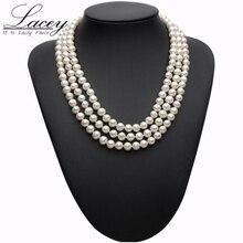 Collier avec perles en argent véritable, collier avec perles deau douce sur trois supports, collier ras du cou, bijoux de mariée pour femmes, livraison directe