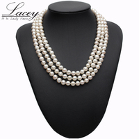 Real pearl necklace silver jewelry,freshwater pearl three stand chocker necklace Jewelry bridal necklace for Women drop shipping