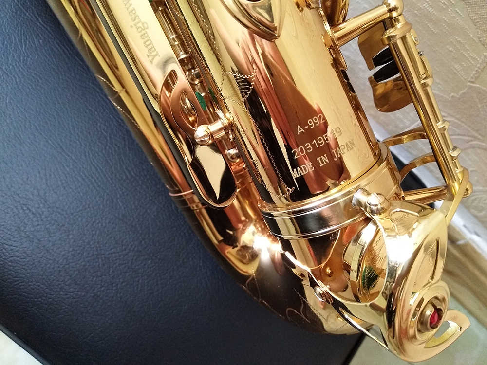 Japonya Marka Saksafon Alto Yanagizawa A-992 Eb Altın Lak Altın Sax Alto enstrüman Profesyonel Durumda ağızlık