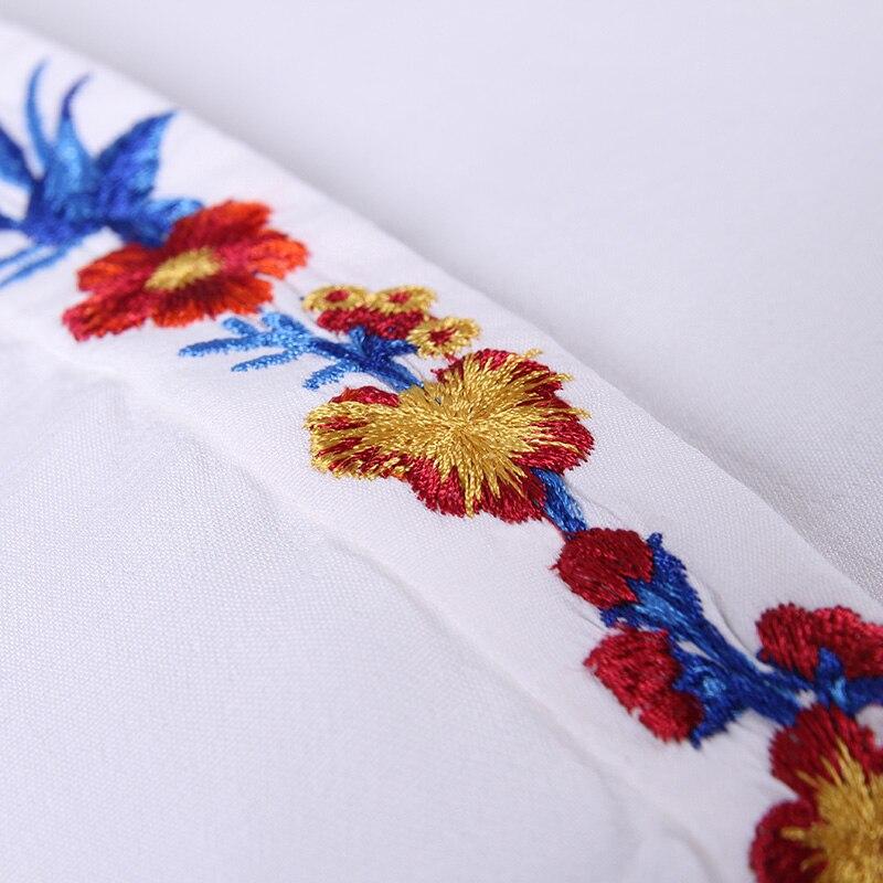 POKWAI automne nouveau col carré National vent brodé chemise décontracté sauvage droite à manches longues Blouse - 6